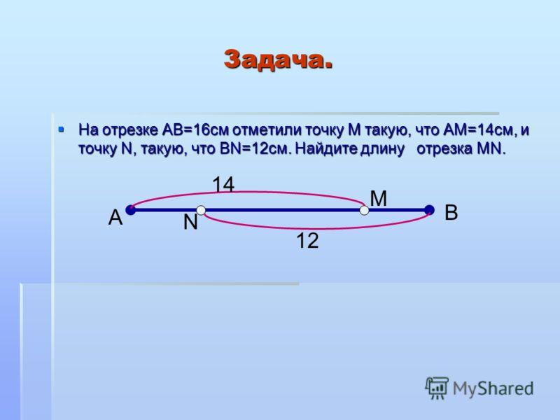 Задача. Задача. На отрезке АВ=16см отметили точку М такую, что АМ=14см, и точку N, такую, что ВN=12см. Найдите длину отрезка МN. На отрезке АВ=16см отметили точку М такую, что АМ=14см, и точку N, такую, что ВN=12см. Найдите длину отрезка МN. А В N M
