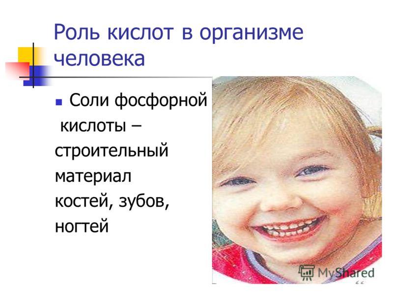 Роль кислот в организме человека Соли фосфорной кислоты – строительный материал костей, зубов, ногтей