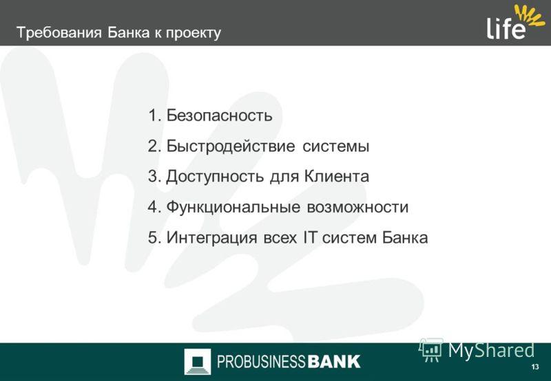 12 1. Финансовая группа «Лайф» 2. Цели и задачи 3. Требования к системе 4. Новые возможности с Interbank RS 5. Планируемые результаты проекта