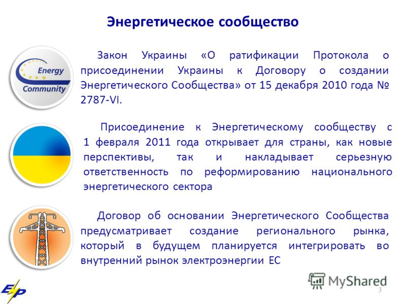 3 Энергетическое сообщество Закон Украины «О ратификации Протокола о присоединении Украины к Договору о создании Энергетического Сообщества» от 15 декабря 2010 года 2787-VI. Договор об основании Энергетического Сообщества предусматривает создание рег