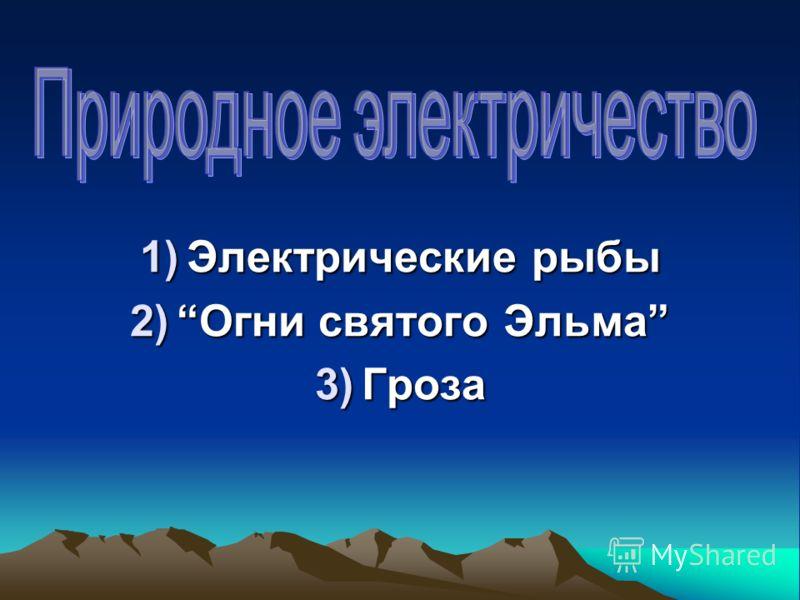 1)Электрические рыбы 2)Огни святого Эльма 3)Гроза