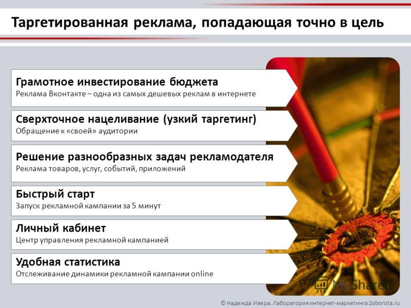 © Надежда Ивера. Лаборатория интернет-маркетинга 2oborota.ru Таргетированная реклама, попадающая точно в цель Сверхточное нацеливание (узкий таргетинг) Обращение к «своей» аудитории Решение разнообразных задач рекламодателя Реклама товаров, услуг, со