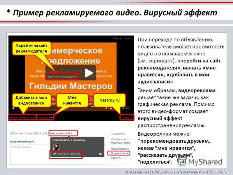 © Надежда Ивера. Лаборатория интернет-маркетинга 2oborota.ru При переходе по объявлению, пользователь сможет просмотреть видео в открывшемся окне (см. скриншот), «перейти на сайт рекламодателя», нажать «мне нравится», «добавить в мои аудиозаписи» Так