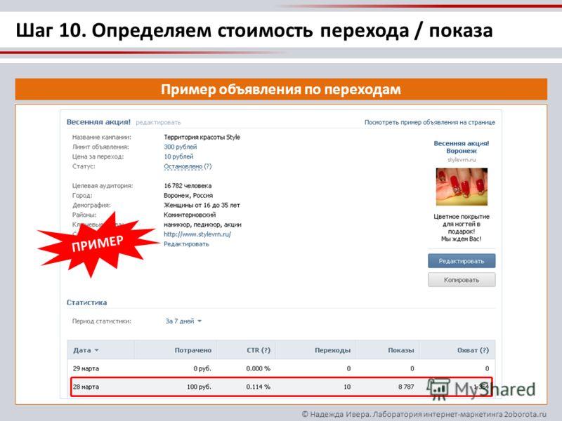 © Надежда Ивера. Лаборатория интернет-маркетинга 2oborota.ru Пример объявления по переходам ПРИМЕР Шаг 10. Определяем стоимость перехода / показа