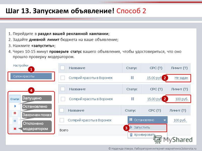 © Надежда Ивера. Лаборатория интернет-маркетинга 2oborota.ru Шаг 13. Запускаем объявление! Способ 2 1.Перейдите в раздел вашей рекламной кампании; 2.Задайте дневной лимит бюджета на ваше объявление; 3.Нажмите «запустить»; 4.Через 10-15 минут проверьт