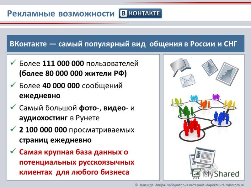 © Надежда Ивера. Лаборатория интернет-маркетинга 2oborota.ru Более 111 000 000 пользователей (более 80 000 000 жители РФ) Более 40 000 000 сообщений ежедневно Самый большой фото-, видео- и аудиохостинг в Рунете 2 100 000 000 просматриваемых страниц е