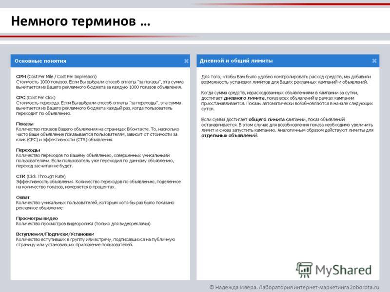 © Надежда Ивера. Лаборатория интернет-маркетинга 2oborota.ru Немного терминов …