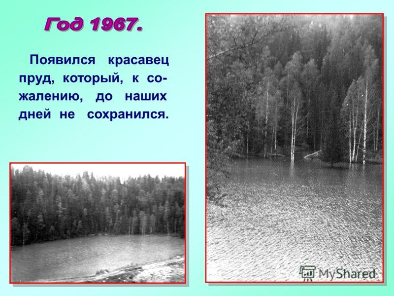 Появился красавец пруд, который, к со- жалению, до наших дней не сохранился.