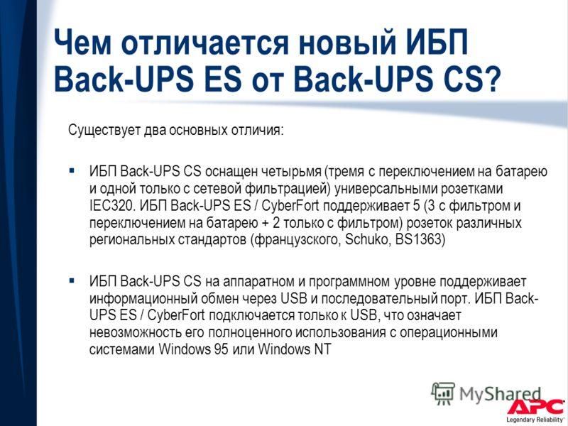 Чем отличается новый ИБП Back-UPS ES от Back-UPS CS? Существует два основных отличия: ИБП Back-UPS CS оснащен четырьмя (тремя с переключением на батарею и одной только с сетевой фильтрацией) универсальными розетками IEC320. ИБП Back-UPS ES / CyberFor