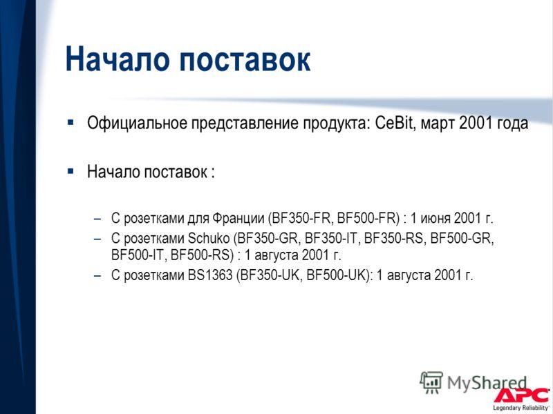 Начало поставок Официальное представление продукта: CeBit, март 2001 года Начало поставок : –С розетками для Франции (BF350-FR, BF500-FR) : 1 июня 2001 г. –С розетками Schuko (BF350-GR, BF350-IT, BF350-RS, BF500-GR, BF500-IT, BF500-RS) : 1 августа 20