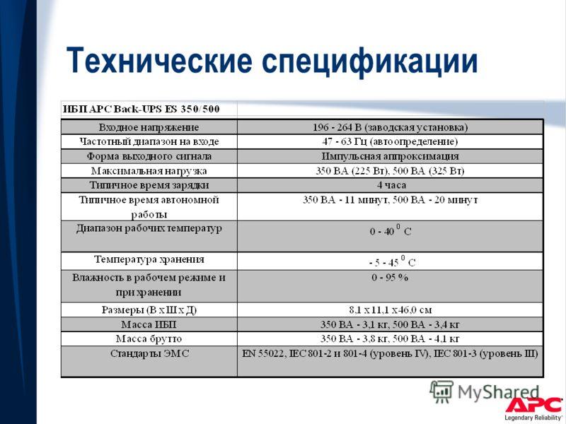 Технические спецификации