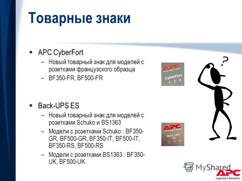 Товарные знаки APC CyberFort –Новый товарный знак для моделей с розетками французского образца –BF350-FR, BF500-FR Back-UPS ES –Новый товарный знак для моделей с розетками Schuko и BS1363 –Модели с розетками Schuko : BF350- GR, BF500-GR, BF350-IT, BF