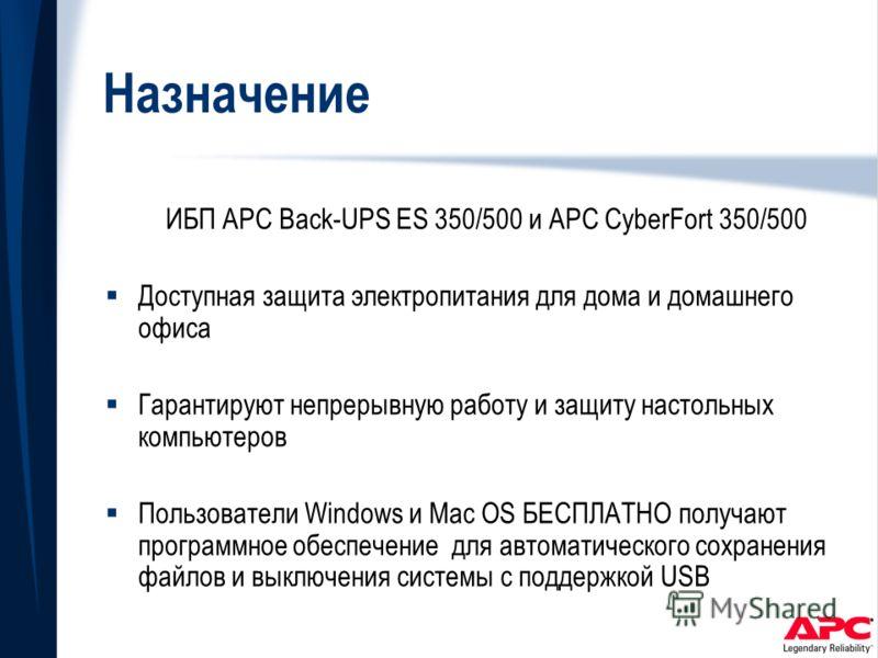 Назначение ИБП APC Back-UPS ES 350/500 и APC CyberFort 350/500 Доступная защита электропитания для дома и домашнего офиса Гарантируют непрерывную работу и защиту настольных компьютеров Пользователи Windows и Mac OS БЕСПЛАТНО получают программное обес