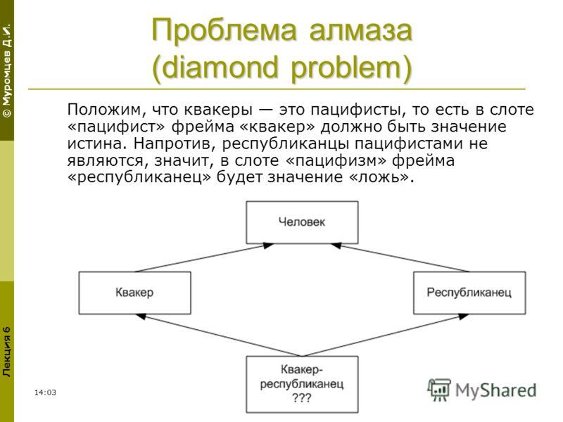 © Муромцев Д.И. Лекция 6 02:3013 Проблема алмаза (diamond problem) Положим, что квакеры это пацифисты, то есть в слоте «пацифист» фрейма «квакер» должно быть значение истина. Напротив, республиканцы пацифистами не являются, значит, в слоте «пацифизм»