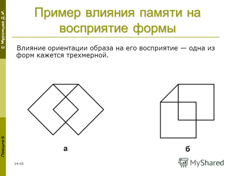 © Муромцев Д.И. Лекция 6 02:307 Пример влияния памяти на восприятие формы Влияние ориентации образа на его восприятие одна из форм кажется трехмерной.
