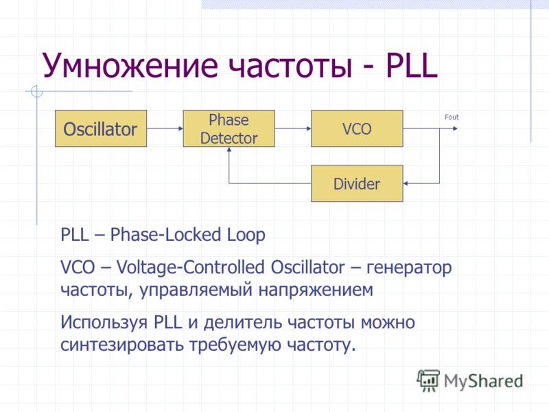 Умножение частоты - PLL Oscillator Phase Detector VCO Divider Fout PLL – Phase-Locked Loop VCO – Voltage-Controlled Oscillator – генератор частоты, управляемый напряжением Используя PLL и делитель частоты можно синтезировать требуемую частоту.