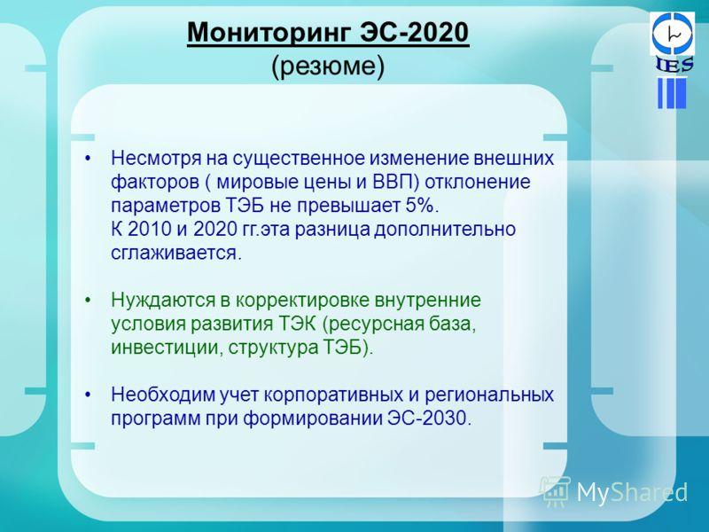 Мониторинг ЭС-2020 (резюме) Несмотря на существенное изменение внешних факторов ( мировые цены и ВВП) отклонение параметров ТЭБ не превышает 5%. К 2010 и 2020 гг.эта разница дополнительно сглаживается. Нуждаются в корректировке внутренние условия раз