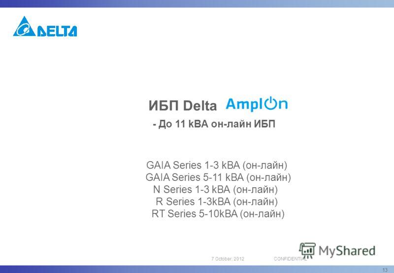 16 August, 2012CONFIDENTIAL 13 ИБП Delta - До 11 kВА он-лайн ИБП GAIA Series 1-3 kВА (oн-лайн) GAIA Series 5-11 kВА (oн-лайн) N Series 1-3 kВА (oн-лайн) R Series 1-3kВА (oн-лайн) RT Series 5-10kВА (oн-лайн)