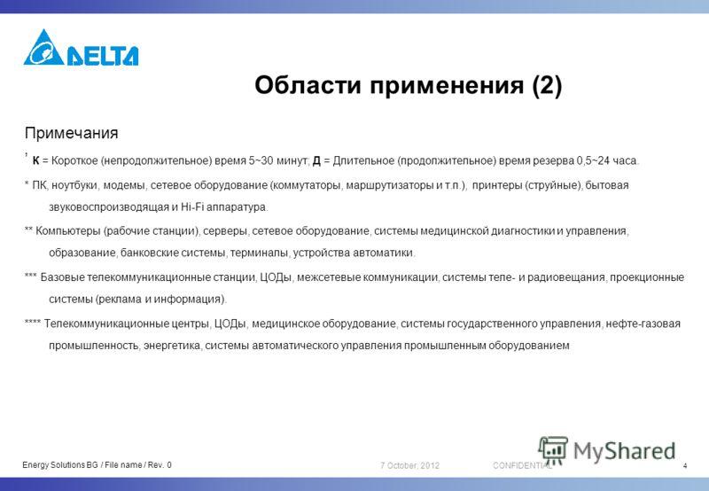 16 August, 2012CONFIDENTIAL Области применения (2) Примечания К = Короткое (непродолжительное) время 5~30 минут; Д = Длительное (продолжительное) время резерва 0,5~24 часа. * ПК, ноутбуки, модемы, сетевое оборудование (коммутаторы, маршрутизаторы и т