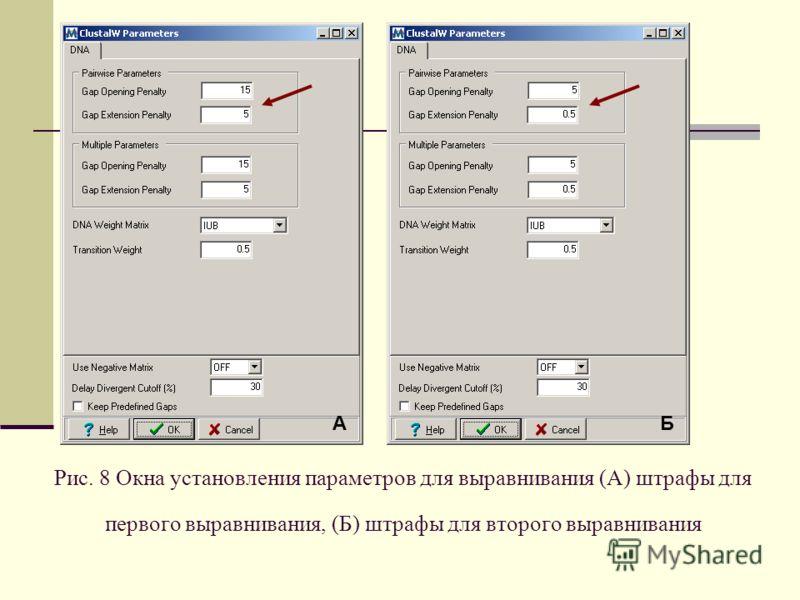 Рис. 8 Окна установления параметров для выравнивания (А) штрафы для первого выравнивания, (Б) штрафы для второго выравнивания БА