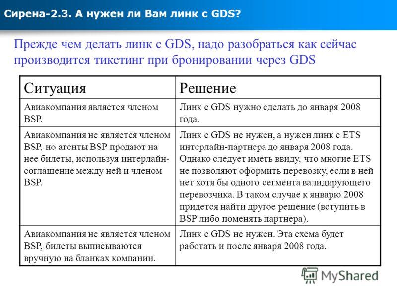 Сирена-2.3. А нужен ли Вам линк с GDS? Прежде чем делать линк с GDS, надо разобраться как сейчас производится тикетинг при бронировании через GDS СитуацияРешение Авиакомпания является членом BSP. Линк с GDS нужно сделать до января 2008 года. Авиакомп