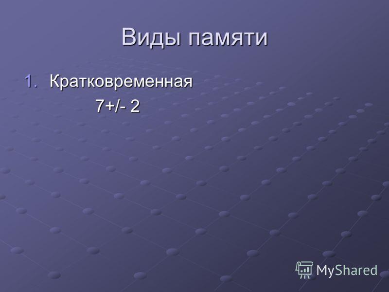 Виды памяти 1.Кратковременная 7+/- 2 7+/- 2