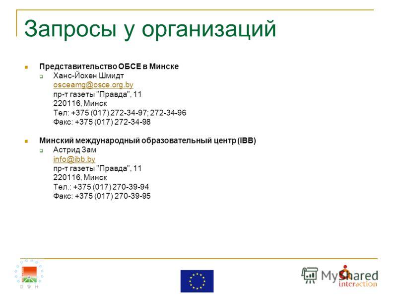 Запросы у организаций Представительство ОБСЕ в Минске Ханс-Йохен Шмидт osceamg@osce.org.by пр-т газеты
