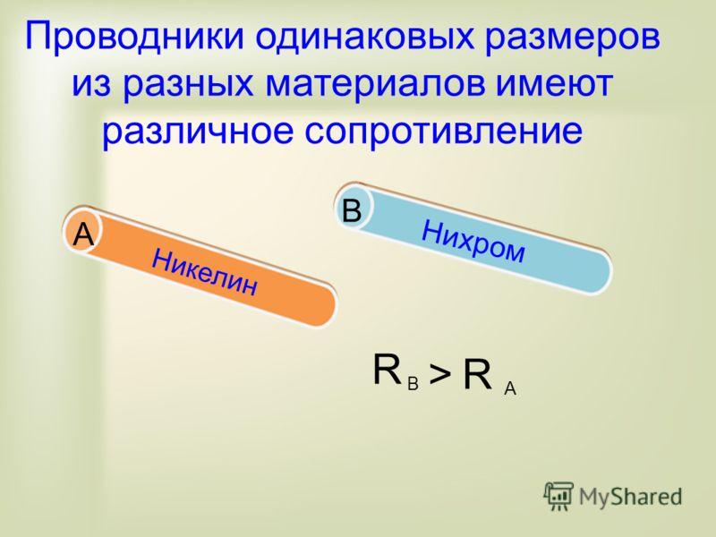 Проводники одинаковых размеров из разных материалов имеют различное сопротивление Никелин Нихром А В R B R A >