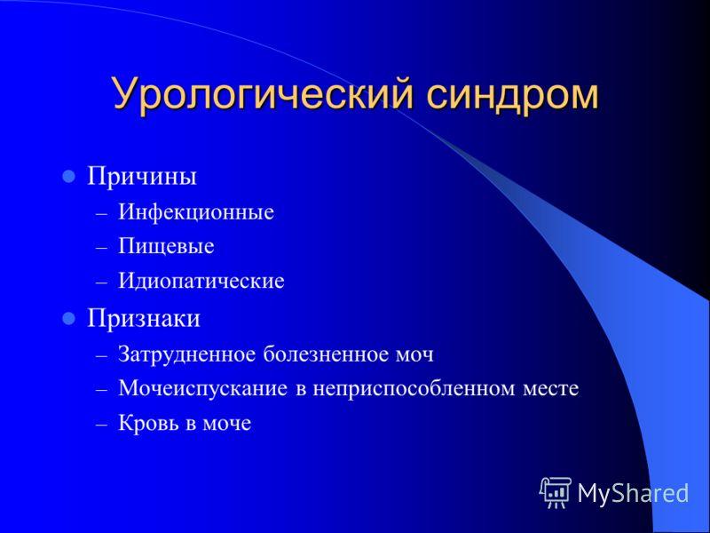 Урологический синдром Причины – Инфекционные – Пищевые – Идиопатические Признаки – Затрудненное болезненное моч – Мочеиспускание в неприспособленном месте – Кровь в моче