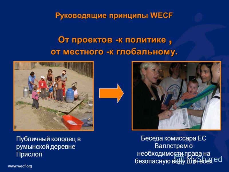 www.wecf.org Руководящие принципы WECF От проектов -к политике, от местного -к глобальному. Публичный колодец в румынской деревне Прислоп Беседа комиссара ЕС Валлстрем о необходимости права на безопасную воду для всех