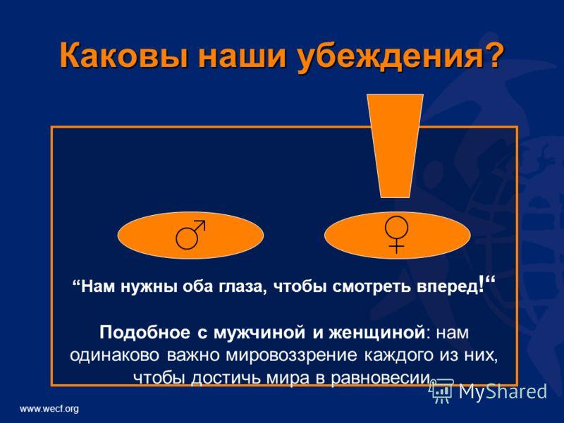 www.wecf.org Каковы наши убеждения? Нам нужны оба глаза, чтобы смотреть вперед ! Подобное с мужчиной и женщиной: нам одинаково важно мировоззрение каждого из них, чтобы достичь мира в равновесии.