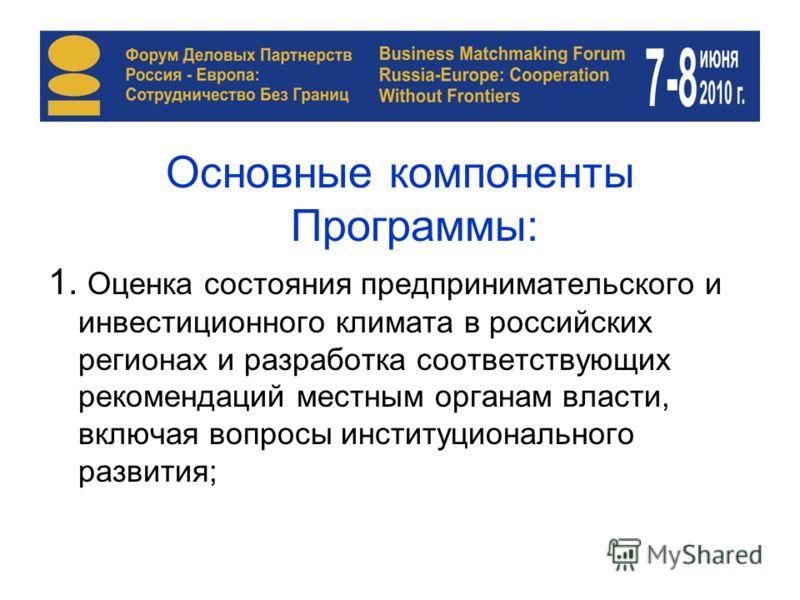 Основные компоненты Программы: 1. Оценка состояния предпринимательского и инвестиционного климата в российских регионах и разработка соответствующих рекомендаций местным органам власти, включая вопросы институционального развития;