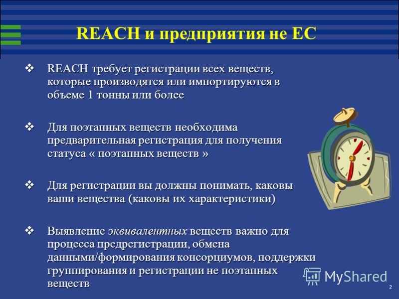 2 REACH требует регистрации всех веществ, которые производятся или импортируются в объеме 1 тонны или более REACH требует регистрации всех веществ, которые производятся или импортируются в объеме 1 тонны или более Для поэтапных веществ необходима пре