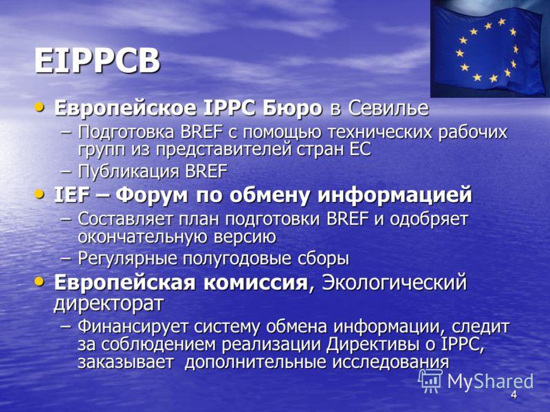 4 ЕIPPCB Европейское IPPC Бюро в Севилье Европейское IPPC Бюро в Севилье –Подготовка BREF с помощью технических рабочих групп из представителей стран ЕС –Публикация BREF IEF – Форум по обмену информацией IEF – Форум по обмену информацией –Составляет
