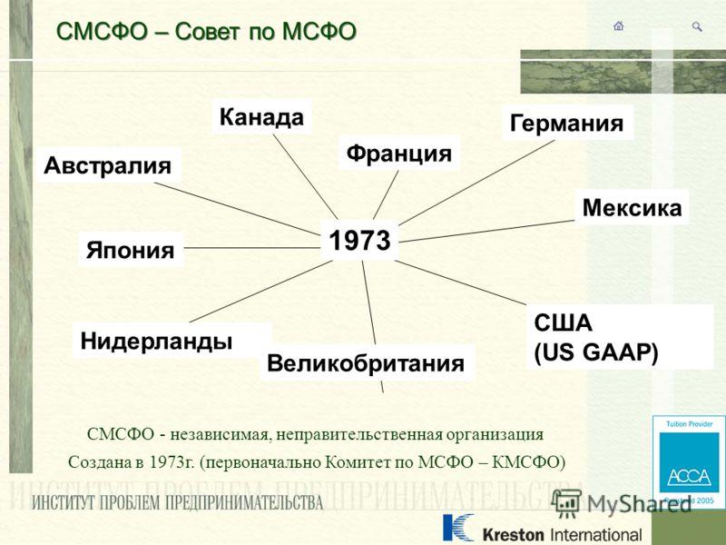 СМСФО – Совет по МСФО СМСФО - независимая, неправительственная организация Создана в 1973г. (первоначально Комитет по МСФО – КМСФО) США (US GAAP) Австралия Канада Франция Германия Япония Мексика Нидерланды Великобритания 1973