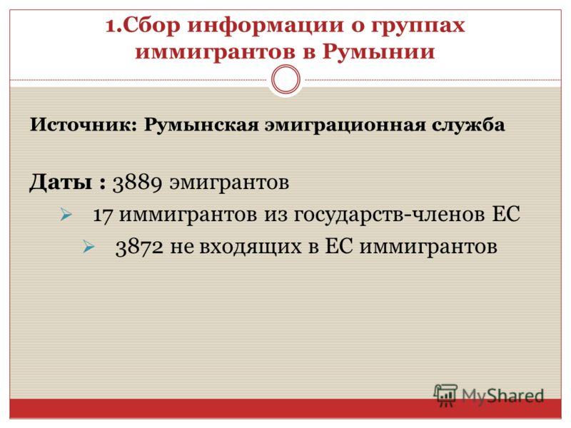 1.Сбор информации о группах иммигрантов в Румынии Источник: Румынская эмиграционная служба Даты : 3889 эмигрантов 17 иммигрантов из государств-членов ЕС 3872 не входящих в ЕС иммигрантов