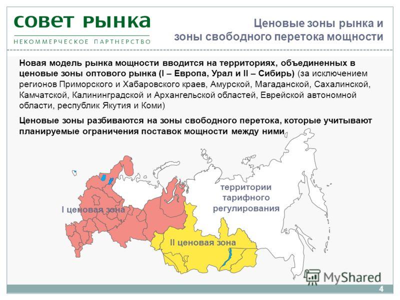 Ценовые зоны рынка и зоны свободного перетока мощности Новая модель рынка мощности вводится на территориях, объединенных в ценовые зоны оптового рынка (I – Европа, Урал и II – Сибирь) (за исключением регионов Приморского и Хабаровского краев, Амурско