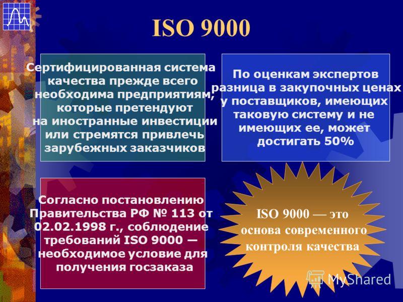 ISO 9000 Сертифицированная система качества прежде всего необходима предприятиям, которые претендуют на иностранные инвестиции или стремятся привлечь зарубежных заказчиков По оценкам экспертов разница в закупочных ценах у поставщиков, имеющих таковую