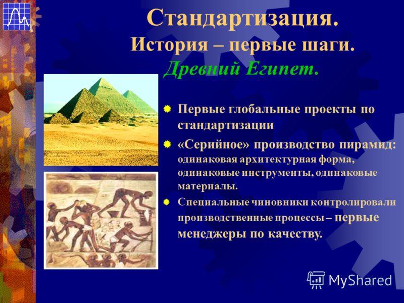 Стандартизация. История – первые шаги. Древний Египет. Первые глобальные проекты по стандартизации «Серийное» производство пирамид: одинаковая архитектурная форма, одинаковые инструменты, одинаковые материалы. Специальные чиновники контролировали про