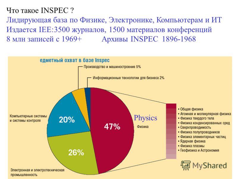 Что такое INSPEC ? Лидирующая база по Физике, Электронике, Компьютерам и ИТ Издается IEE:3500 журналов, 1500 материалов конференций 8 млн записей с 1969+Архивы INSPEC 1896-1968 Physics