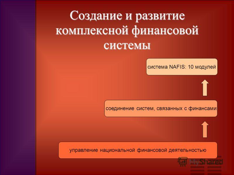 Создание и развитие комплексной финансовой системы система NAFIS: 10 модулей соединение систем, связанных с финансами управление национальной финансовой деятельностью