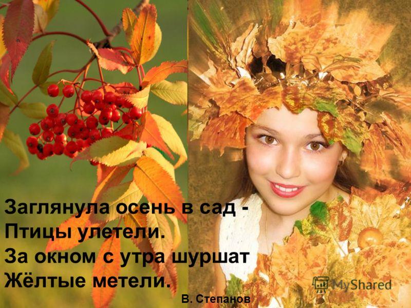 Заглянула осень в сад - Птицы улетели. За окном с утра шуршат Жёлтые метели. В. Степанов