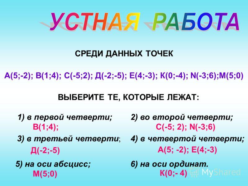 СРЕДИ ДАННЫХ ТОЧЕК А(5;-2); В(1;4); С(-5;2); Д(-2;-5); Е(4;-3); К(0;-4); N(-3;6);M(5;0) ВЫБЕРИТЕ ТЕ, КОТОРЫЕ ЛЕЖАТ: 1) в первой четверти;2) во второй четверти; 3) в третьей четверти ; 4) в четвертой четверти; 5) на оси абсцисс;6) на оси ординат. В(1;