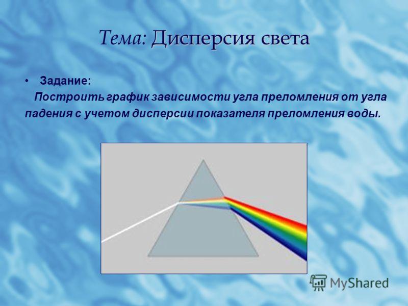 Дисперсия света Тема: Дисперсия света Задание: Построить график зависимости угла преломления от угла падения с учетом дисперсии показателя преломления воды.