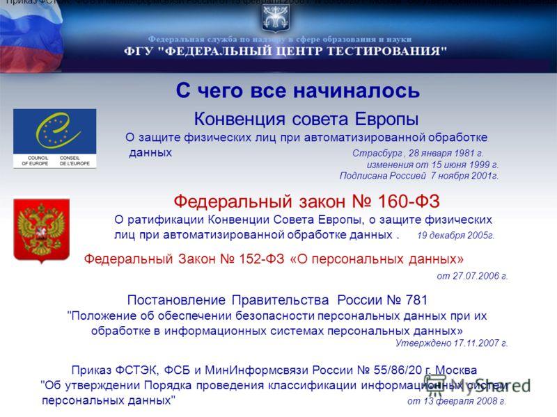 С чего все начиналось Конвенция совета Европы О защите физических лиц при автоматизированной обработке данных Страсбург, 28 января 1981 г. изменения от 15 июня 1999 г. Подписана Россией 7 ноября 2001г. Федеральный закон 160-ФЗ О ратификации Конвенции