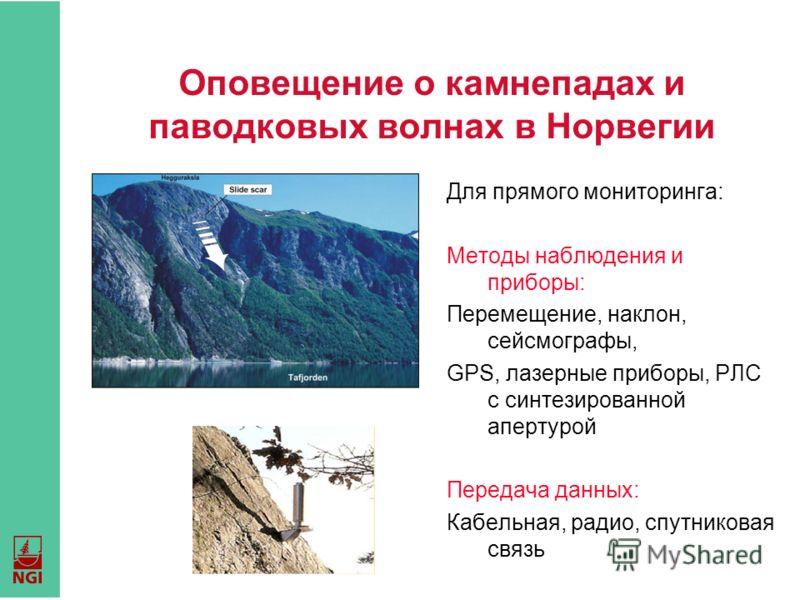 Оповещение о камнепадах и паводковых волнах в Норвегии Для прямого мониторинга: Методы наблюдения и приборы: Перемещение, наклон, сейсмографы, GPS, лазерные приборы, РЛС с синтезированной апертурой Передача данных: Кабельная, радио, спутниковая связь