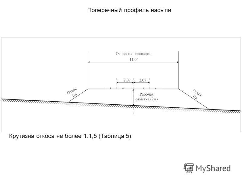 Поперечный профиль насыпи Крутизна откоса не более 1:1,5 (Таблица 5).