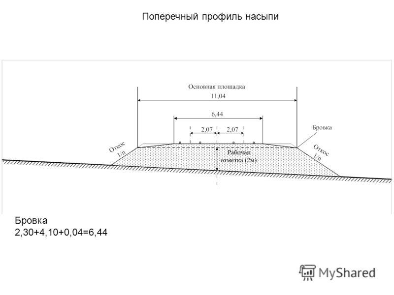 Поперечный профиль насыпи Бровка 2,30+4,10+0,04=6,44