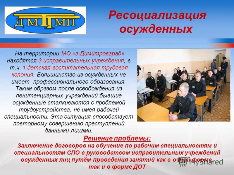 На территории МО «г.Димитровград» находятся 3 исправительных учреждения, в т.ч. 1 детская воспитательная трудовая колония. Большинство из осужденных не имеет профессионального образования. Таким образом после освобождения из пенитенциарных учреждений