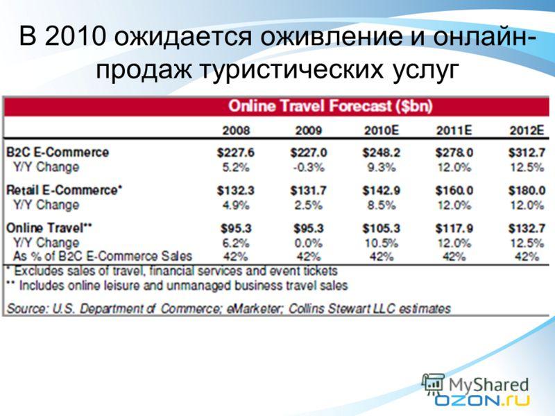 В 2010 ожидается оживление и онлайн- продаж туристических услуг